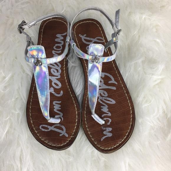 df17d579d086 Sam Edelman kid s silver Gigi charm sandals. M 5aa34dae31a376693a42d3ac
